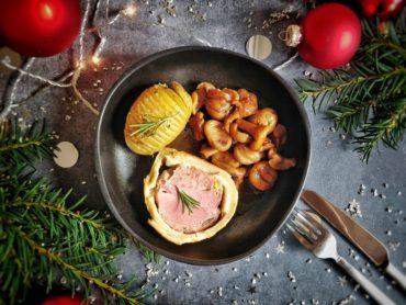 Filet migon, pommes de terre, giroles aux marrons
